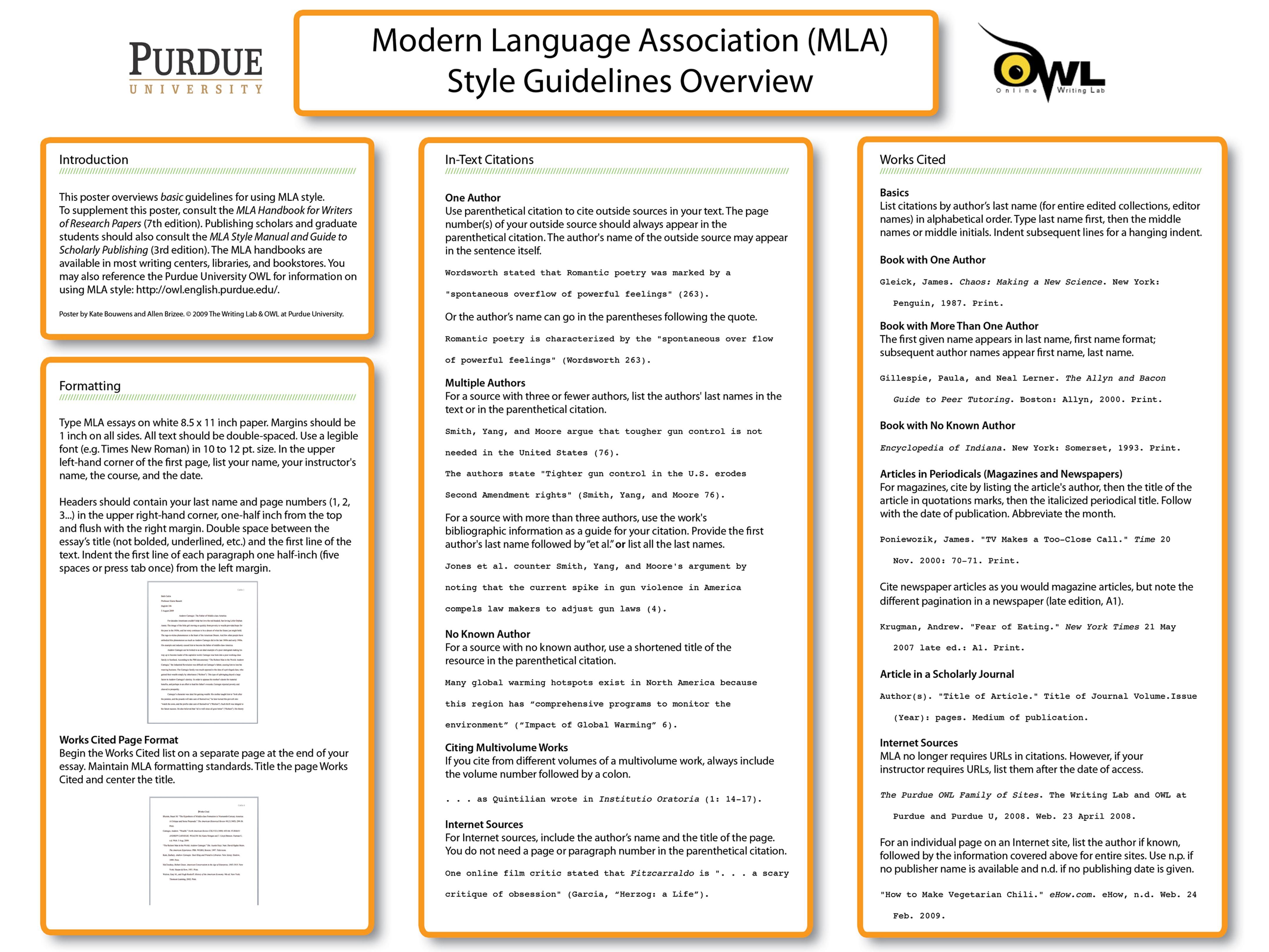 Purdue OWL: MLA Poster