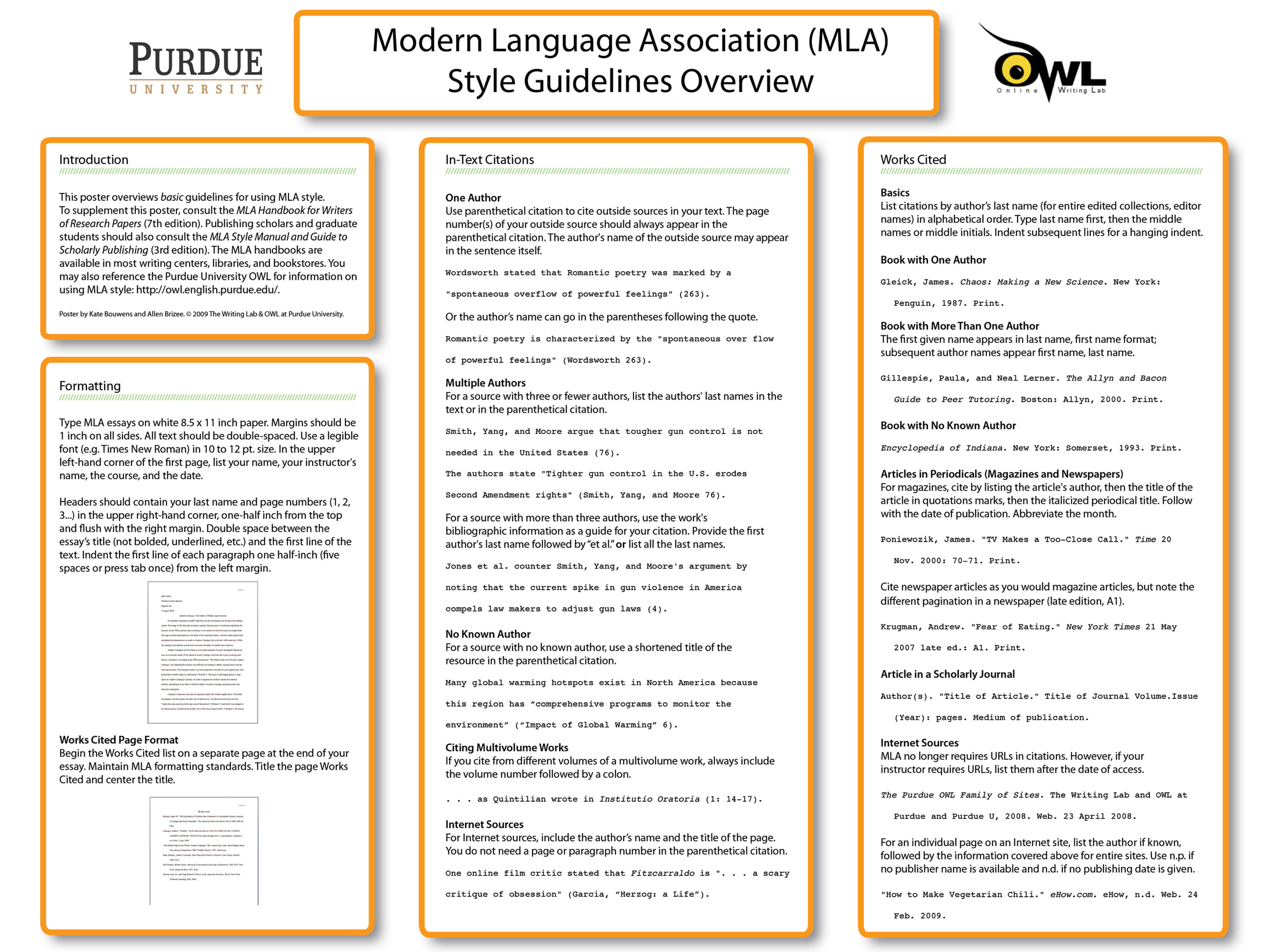 Fall 2020 Purdue Owl Mla Poster How To Cite Paraphrase In Apa Format